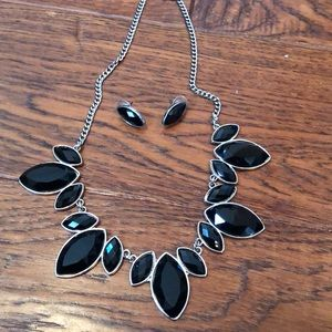 Charming Charlie Black Stone Necklace and Earring